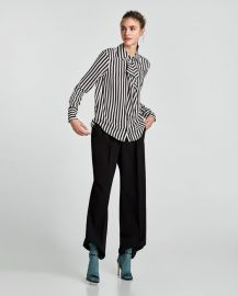 striped blouse with shoulder pads at Zara