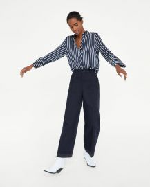 striped satin shirt at Zara