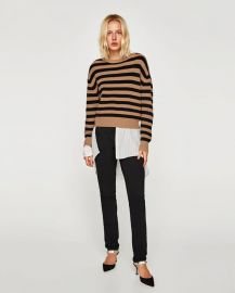 striped sweater with round neckline at Zara