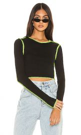 superdown Alisha Contrast Thread Top in Black from Revolve com at Revolve