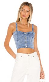 superdown Carrie Denim Top in Light Denim from Revolve com at Revolve