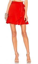 superdown Patricia Ruffle Wrap Skirt in Red from Revolve com at Revolve
