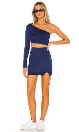 superdown Roxane Asymmetrical Skirt Set in Navy Blue Plaid from Revolve com at Revolve