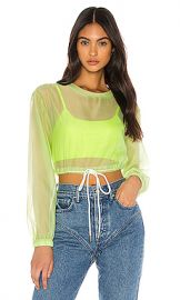 superdown Selia Sheer Crop Top in Light Green from Revolve com at Revolve
