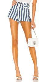 superdown Sydney Striped Denim Shorts in Blue  amp  White from Revolve com at Revolve