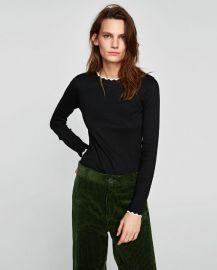 t-shirt with zigzag neckline at Zara