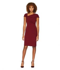 tahari asl Fold-Over Collar Crepe Short Sleeve Crepe Dress at 6pm