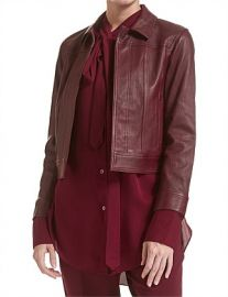 thoery SHRUNKEN LEATHER JEAN JKT at David Jones