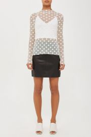 topshop Polka Dot Mesh Top by Boutique at Topshop