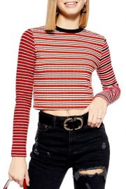 topshop Mix Stripe Long Sleeve Top at Nordstrom Rack