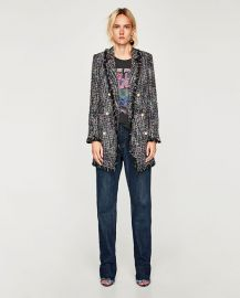 tweed jacket with faux pearl button at Zara