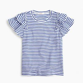 uffle-sleeve T-shirt in stripe  at J. Crew