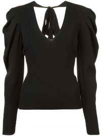 v-neck puff-sleeve knit pullover at Farfetch