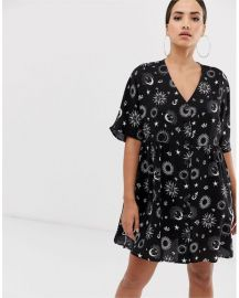 v neck button through mini smock dress in zodiac print by ASOS at ASOS