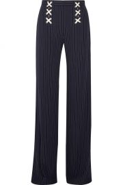 veronica beard Quinn lace-up striped crepe wide-leg pants at Net A Porter