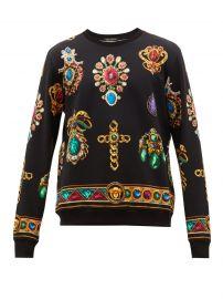 versace Jewel-print cotton-jersey sweatshirt at Matches