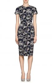 victoria beckham ABSTRACT COTTON-BLEND JACQUARD FITTED SHEATH DRESS at Barneys