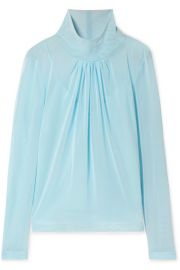 victoria beckham GATHERED STRETCH-TULLE BLOUSE at Net A Porter