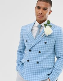 wedding slim crop double breasted blazer with wool mix large scale houndstooth at ASOS