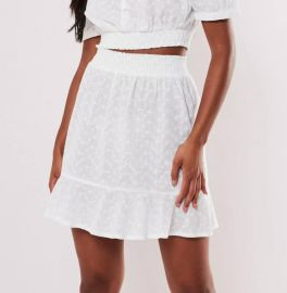 white broderie anglaise cotton mini skirt at Missguided