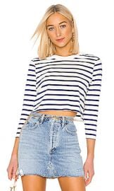x karla The Long Sleeve Stripe Crop Tee in Off White  amp  Navy from Revolve com at Revolve
