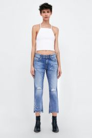 z1975 jeans with pearl beads on the hems at Zara