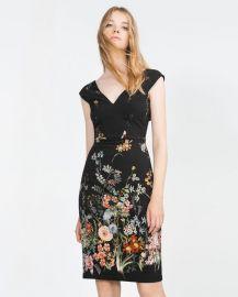 zara floral v neck dress at Zara